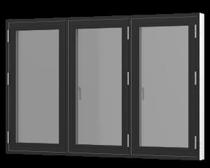 Rationel sidehængt 3-fags vindue . Kan bestilles i træ eller i en vedligeholdelses-fri  træ/alu udgave.  Modellen fås både i en retkantet moderne og klassisk udgave med profilerede karme.    Modellen leveres i en Basic version med 2 lag glas og i en P