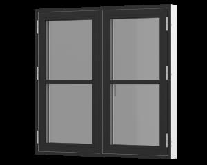 Rationel 2 fags sidehængt vindue med 1 vandret energisprosse. Fås både i træ og træ/alu.  Leveres i en klassisk model med 25 mm energisprosse og en moderne model med en 31 mm energisprosse. Vælg mellem varianterne Basic med 2 lag glas og Premium med 3 la