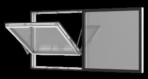 Rationel  topvende  vindue med fast felt. Kan bestilles i træ eller i en vedligeholdelses-fri  træ/alu udgave.  Modellen fås både i en moderne og klassisk udgave.   Modellen leveres i en Basic version med 2 lag glas og i en Premium version med 3-lags