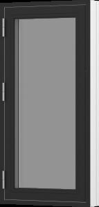 Rationel sidehængt 1-fags vindue . Kan bestilles i træ eller i en vedligeholdelses-fri  træ/alu udgave.  Modellen fås både i en retkantet moderne og klassisk udgave med profilerede karme.    Modellen leveres i en Basic version med 2 lag glas og i en P